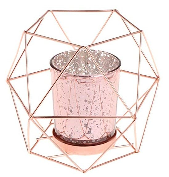 Rose gold geometric tea light candle holders are PERFECT for a rose gold flat lay. Check out 33 dazzling rose gold props for flat lay photography!