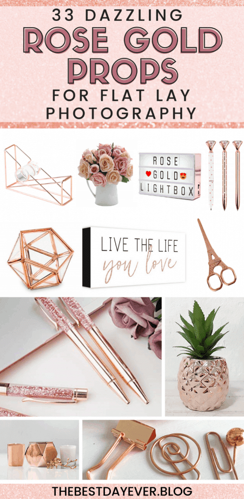 Flat lay photography is a MUST for social media marketing, but you need the right tools. Here are 33 of the most stunning props for a rose gold flat lay...