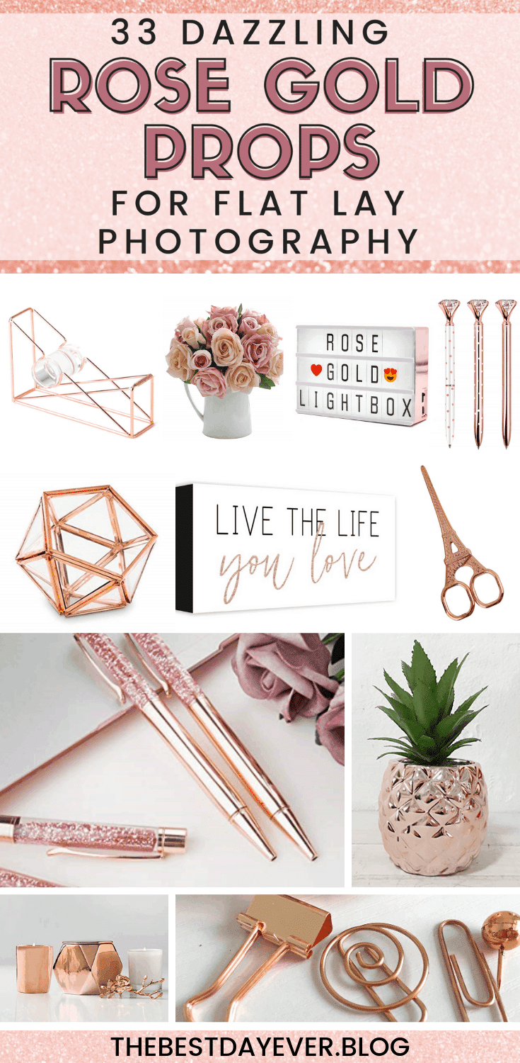 Flat lay photography is a MUST for social media marketing, but you need the right tools.  Here are 33 of the most stunning props for a rose gold flat lay... #FlatLayPhotography #FlatLayPhotographyTips #FlatLayPhotographyIdeas #RoseGold #RoseGoldFlatLay