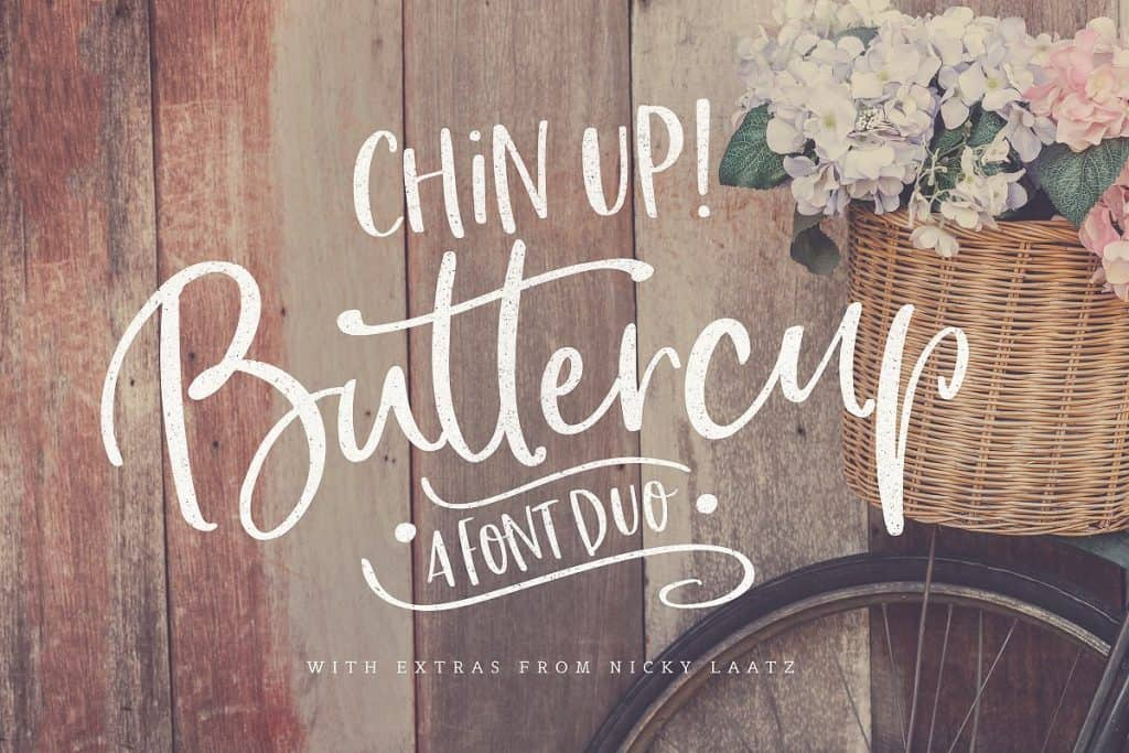 Chin Up Buttercup font duo on Creative Market. Check out 25 Gorgeous Font Duos That Will Instantly Transform Your Brand!