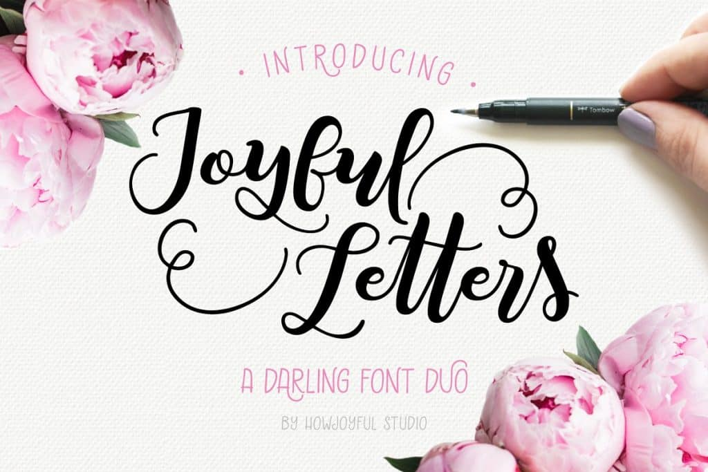 Joyful Letters font duo on Creative Market. Check out 25 Gorgeous Font Duos That Will Instantly Transform Your Brand!
